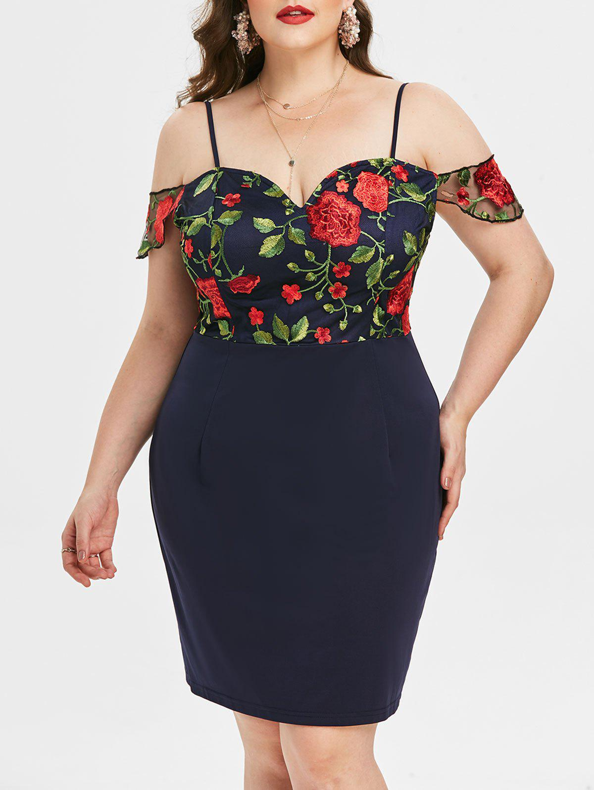 Trendy Plus Size Embroidered Cold Shoulder Bodycon Dress