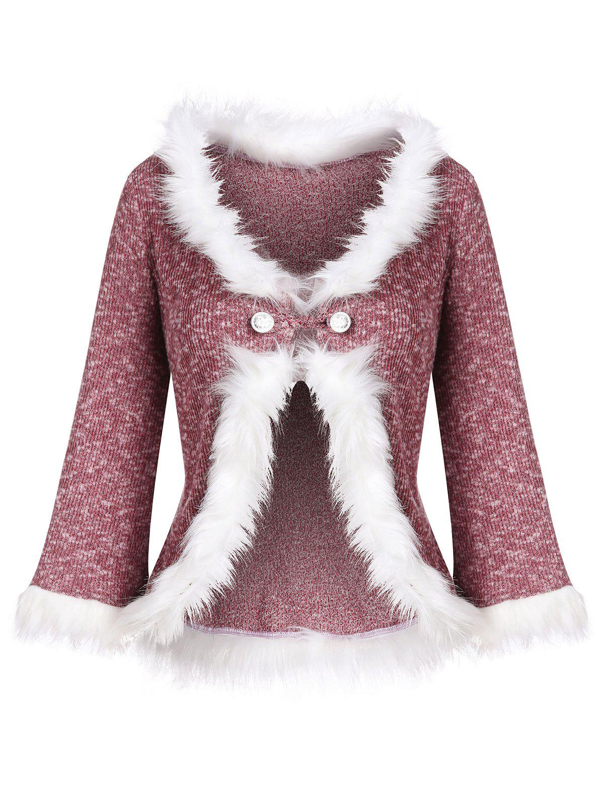 Best Loop Button Faux Fur Trim Heather Knit Cardigan