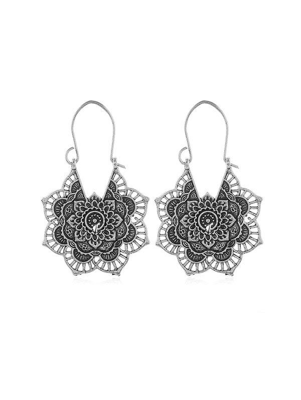 Sale Ethnic Floral Hollow Out Earrings