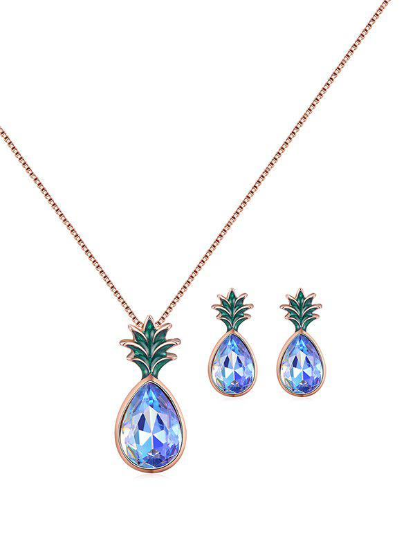 Hot Fruit Pineapple Faux Crystal Jewelry Set