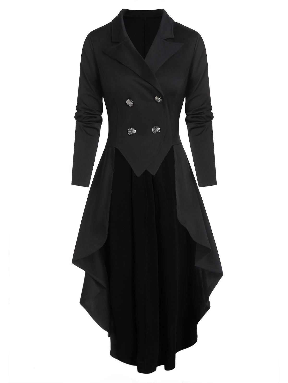 New Lace-up Back Double Breasted High Low Skirted Coat