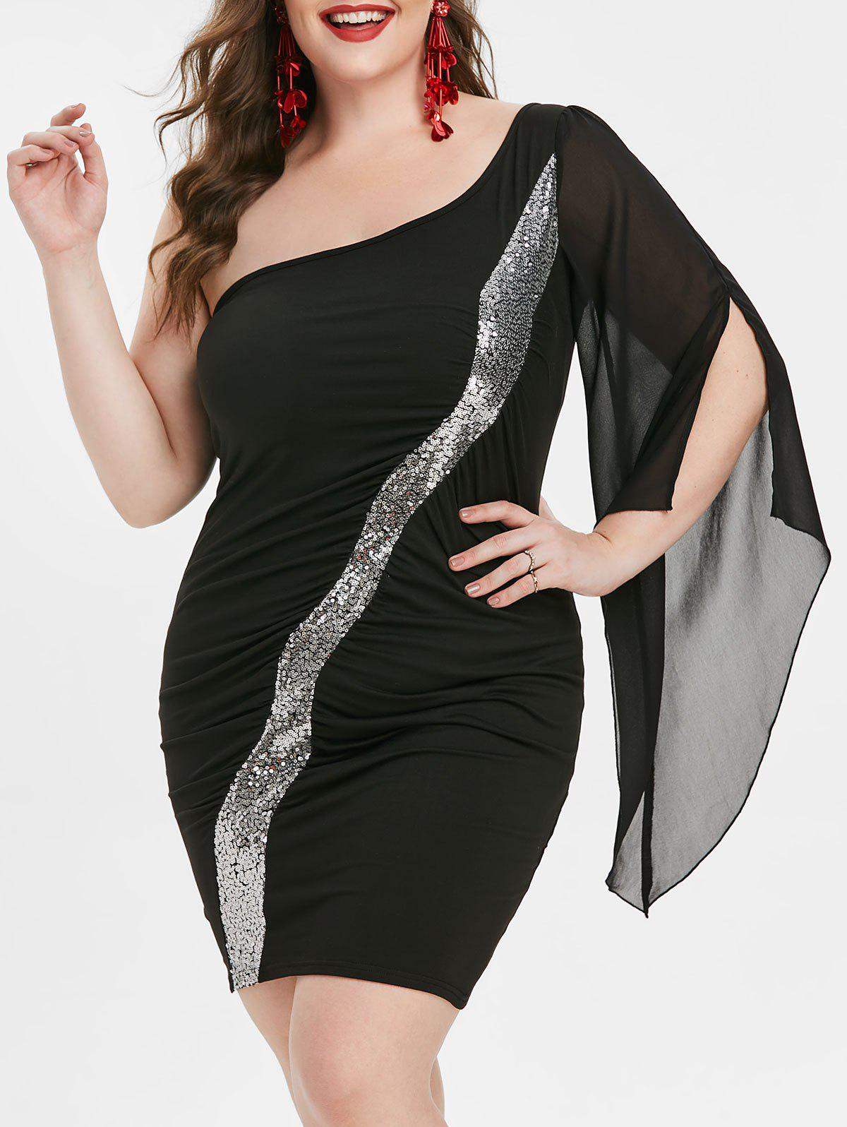 Affordable Plus Size One Shoulder Sequin Party Cocktail Dress