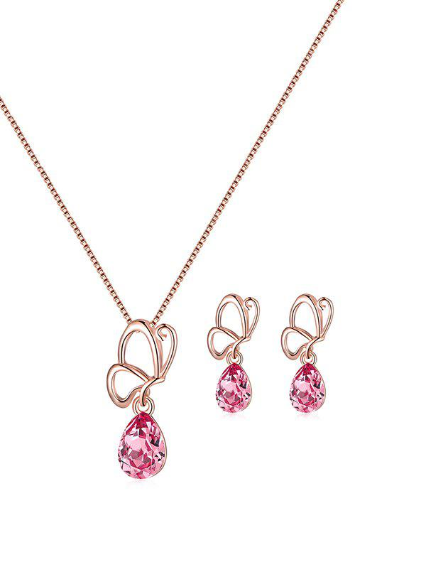 Chic Asymmetric Faux Crystal Butterfly Teardrop Jewelry Set