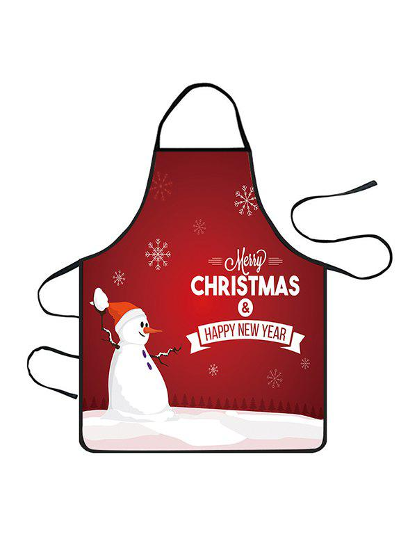 Store Christmas Snowman Snowflake Greeting Print Cooking Apron
