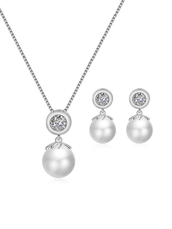 Best Rhinestone Faux Pearl Necklace and Earrings