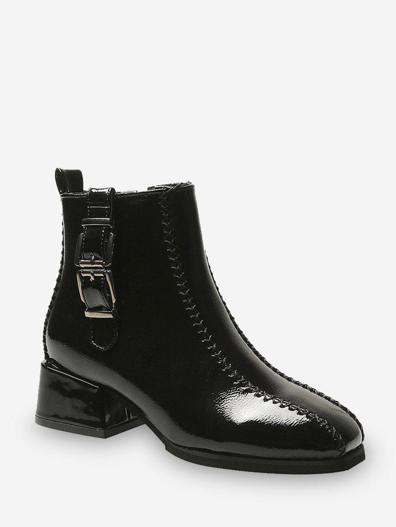 New Dual Buckle Mid Heel Ankle Boots