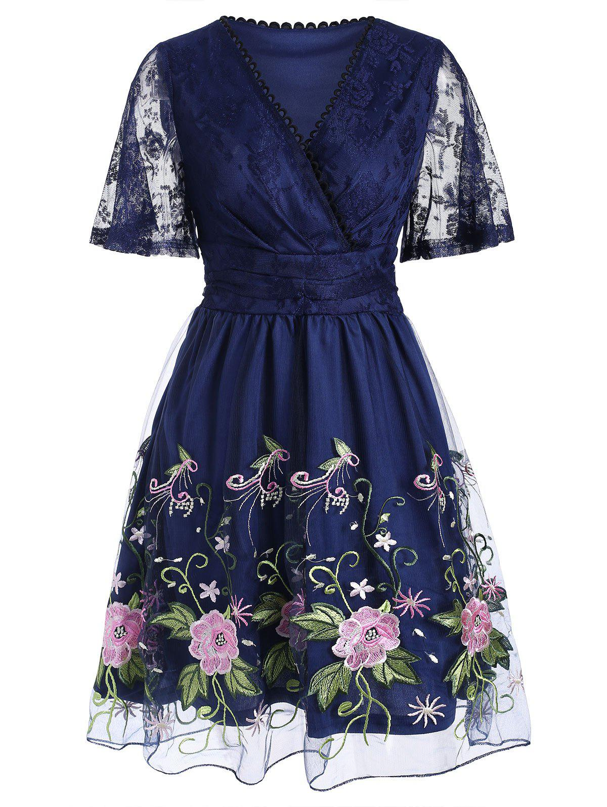 Online Picot Floral Embroidered Mesh Overlay Dress