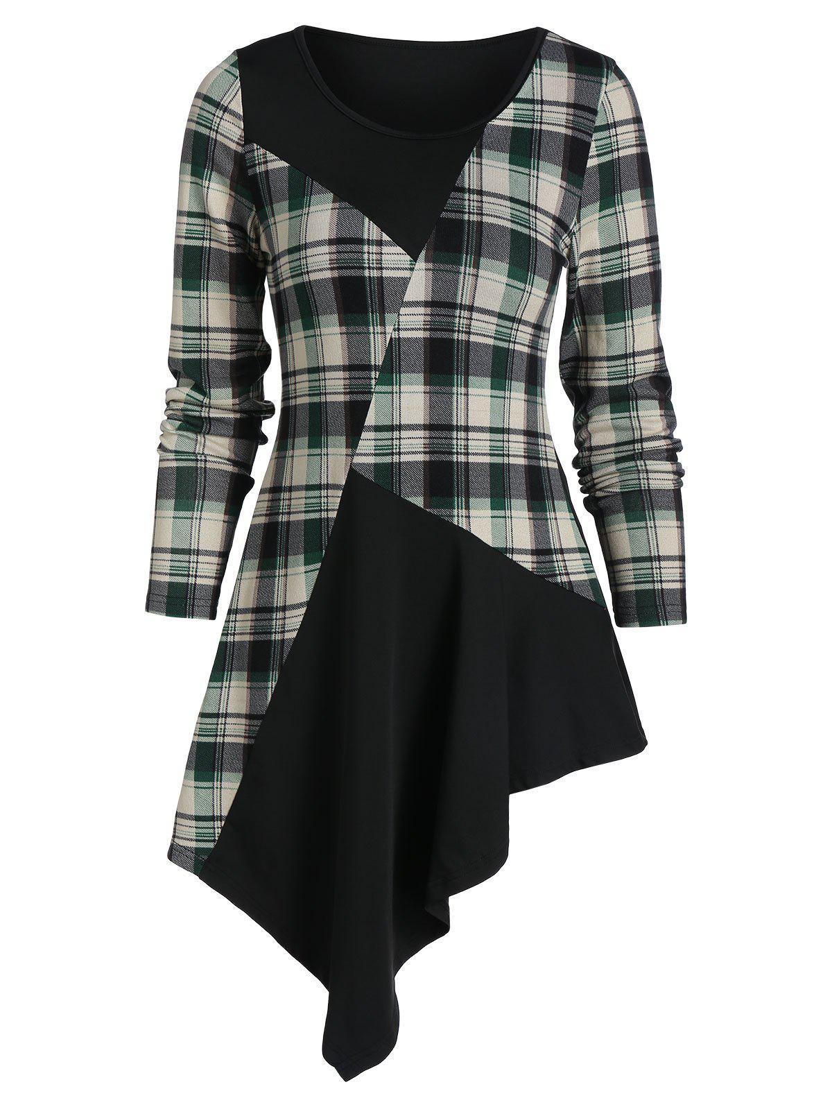 rosegal Plaid Panel Asymmetric Long Sleeve T Shirt