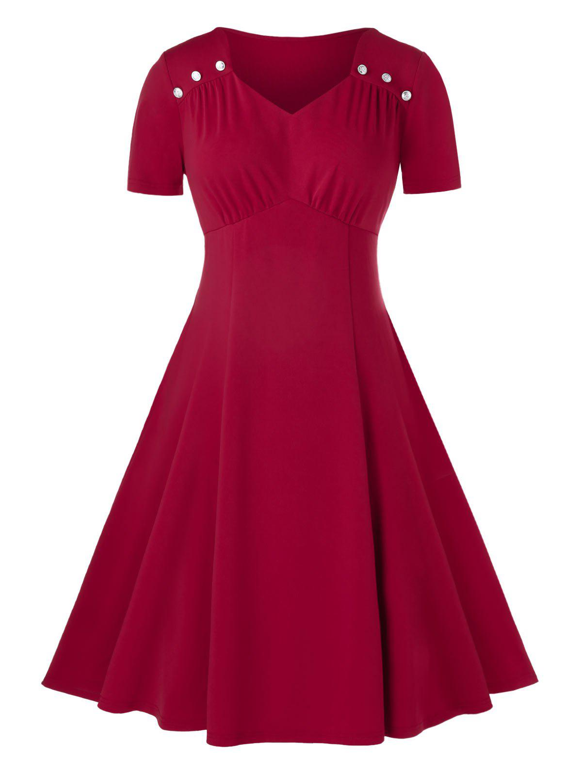 Online Plus Size Sweetheart Neck Midi Ruched A Line Dress