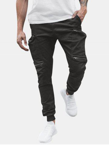 Solid Color Zipper Pocket Decorated Jogger Pants
