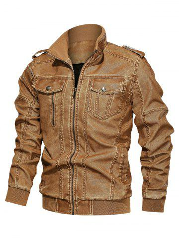 Solid Color Faux Leather Cargo Jacket - BEE YELLOW - 2XL