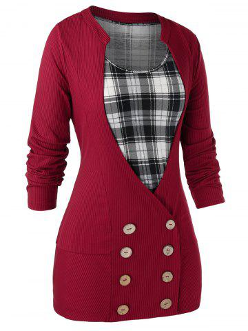 Plus Size Buttons Cardigan With Plaid Tank Top Set