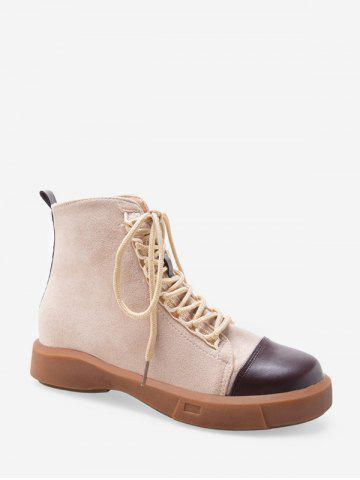 Contrast Toe Cap Lace Up Cargo Boots