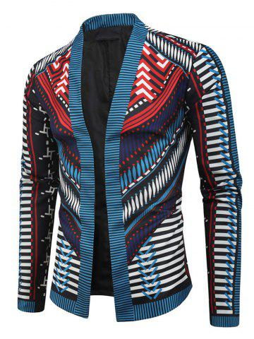 Stripes Geometric Print Open Front Jacket