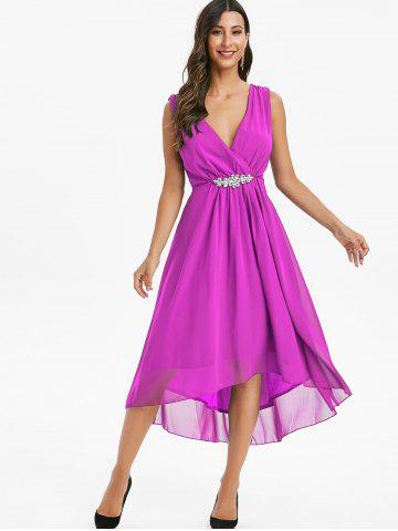 Rhinestone Chiffon High Low Surplice Dress