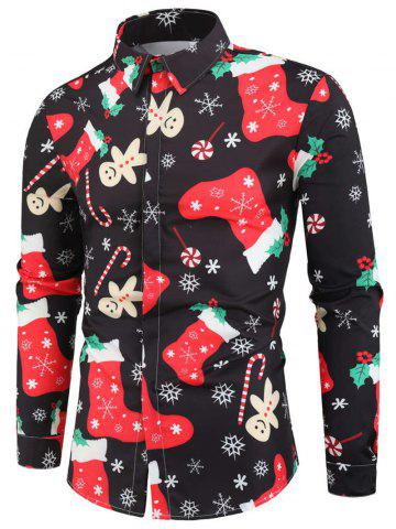 Christmas Candy Stocking Print Button Up Shirt