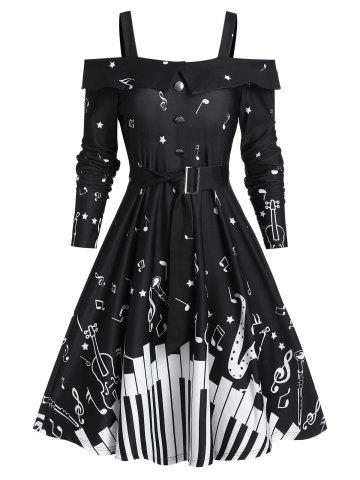 Music Note Print Belted Cold Shoulder A Line Dress