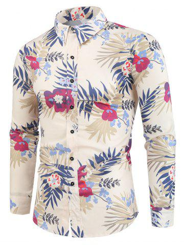 Tropical Flower Plant Print Button Vacation Shirt
