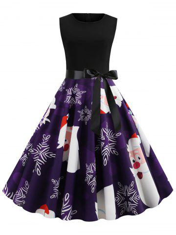 Belted Sleeveless Christmas Cartoon Santa Claus Snowflake Plus Size Dress - PURPLE IRIS - L