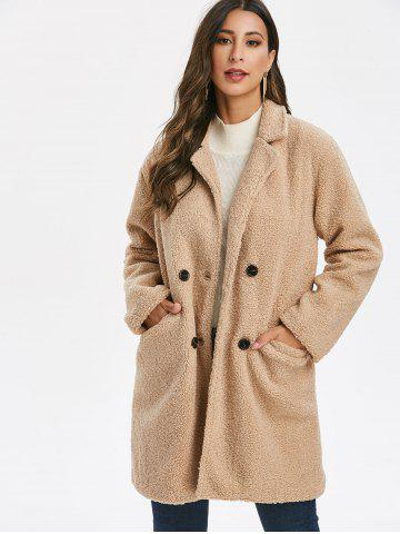 Double Breasted Teddy Coat with Pockets