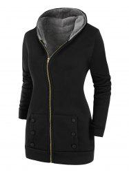 Buttoned Hooded Faux Fur Lined Zip Front Plus Size Coat -
