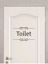 Letter Toilet Print Removable Door Stickers Wall Stickers -