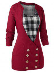 Plus Size Buttons Cardigan With Plaid Tank Top Set -