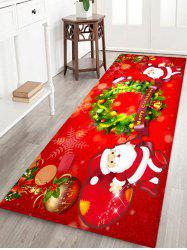 Father Christmas Wreath Pattern Floor Rug -