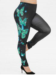 Plus Size Butterfly Print Leggings -