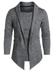 Heathered Asymmetric Faux Twinset Pullover Sweater -