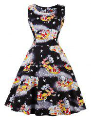 Santa Claus Star Print Christmas Sleeveless Dress -