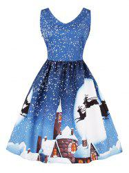Snow Elk Print Christmas Sleeveless A Line Dress -