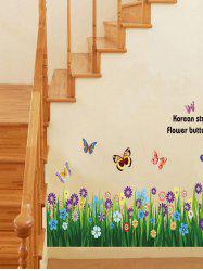 Flowers Grass Butterfly Print Removable Wall Art Stickers -