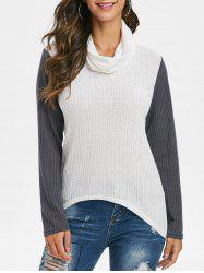 Cowl Neck Two Tone Honeycomb Knit Sweater -
