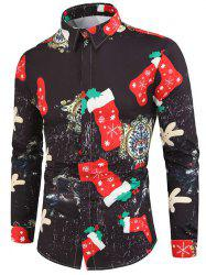 Christmas Stocking Paper Character Print Button Shirt -