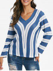 Striped V Neck Drop Shoulder Knitwear -
