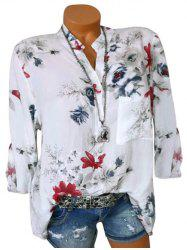 Plus Size Flower Roll Up manches Chemisier Longline - Blanc 4X