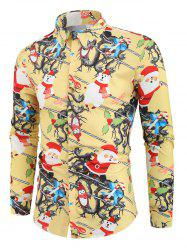 Christmas Santa Snowmen Candy Print Button Shirt -