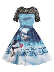 Lace Panel Christmas Snowflake Snowman Santa Claus Plus Size Dress -