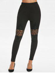 High Waist Lace Spliced Leggings -
