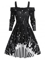Music Note Print Belted Cold Shoulder A Line Dress -