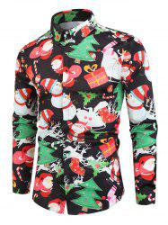 Santa Snowmen Christmas Tree Print Long Sleeve Shirt -