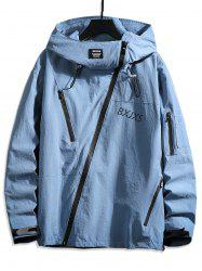 Front Asymmetric Zip Letter Graphic Hooded Jacket -