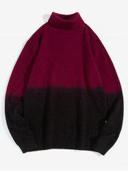 Turtleneck Two-tone Ombre Sweater -