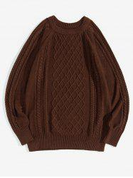 Solid Color Cable Knit Pullover Sweater -