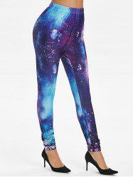 Galaxy Print High Waist Leggings -