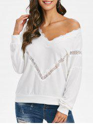 V Neck Eyelash Lace Panel Sweater -