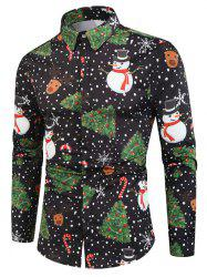 Polka Dots Christmas Pattern Print Long Sleeve Shirt -