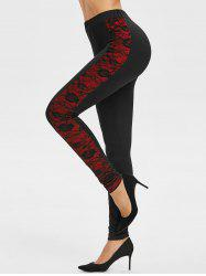 Side Lace Overlay Colorblock Leggings -
