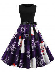 Belted Sleeveless Christmas Cartoon Santa Claus Snowflake Plus Size Dress -